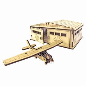 Cборная модель «Ангар с самолётом» 30 деталей из фанеры