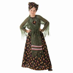 "Костюм ""Баба-Яга зеленая"", головной убор, блузка, юбка, нос, р.56  рост 98-104"