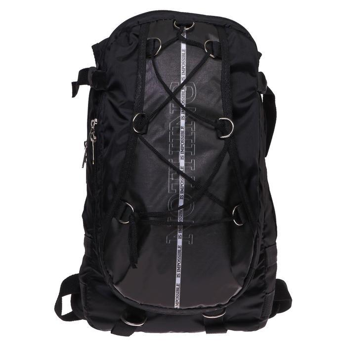 Рюкзак молодежный Calligrata с мягкой спинкой 41х24х16 см на шнурках Nothing, цвет чёрный - фото 841940