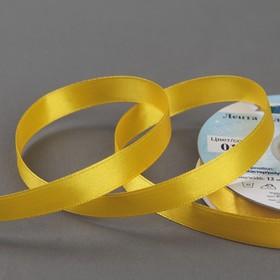 Лента атласная, двусторонняя, 12 мм × 33 ± 2 м, цвет тёмно-жёлтый №017