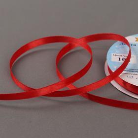 Лента атласная, двусторонняя, 6 мм × 33 ± 2 м, цвет тёмно-красный №104