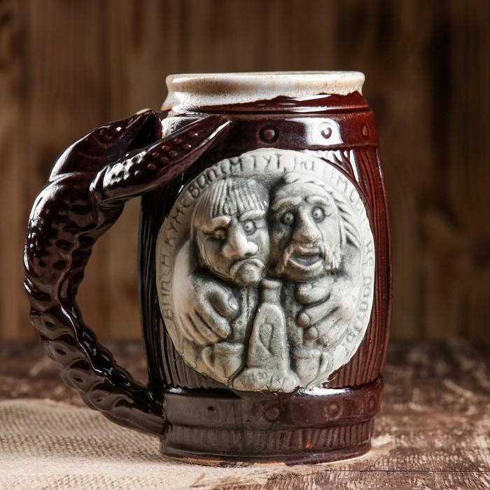 """Кружка для пива """"Кум"""" коричневая, 1 л"""