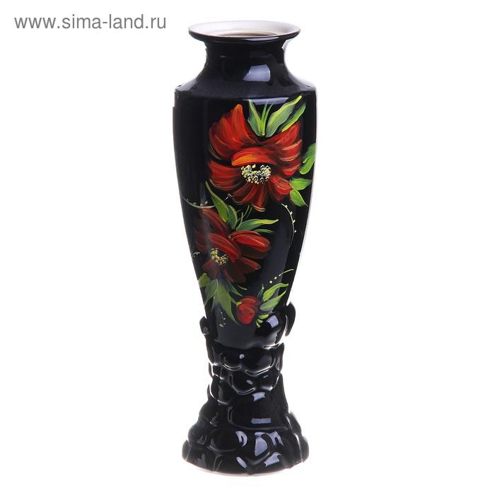 """Ваза """"Амфора"""" большая, чёрная, красные цветы"""
