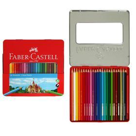 Карандаши 24 цвета Faber-Castell «Замок», шестигранный корпус, заточенные, в металличествоки корпусе