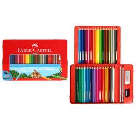 Карандаши 48 цвета Faber-Castell «Замок», трёхгранный корпус, 2 чернографитных карандаша , с ластиком, в металлическом пенале