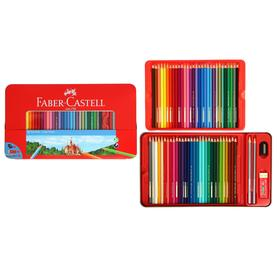 Карандаши 60 цвета Faber-Castell «Замок», шестигранный корпус, 2 чернографитных карандаша , с ластиком и точилкой, в металлическом пенале