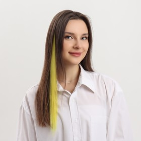 Локон накладной, прямой волос, на заколке, 50 см, 5 гр, цвет жёлтый