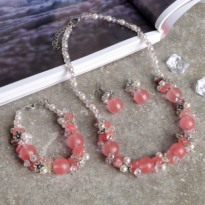 "The set of 3 items: earrings, necklace, bracelet, stone valley ""Jasper green"""