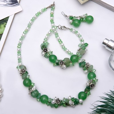 """The set of 3 items: earrings, necklace, bracelet, stone valley """"Jade"""""""