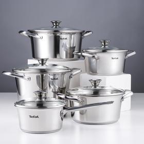 Набор посуды Simpleo, 5 предметов: ковш 1,4 л, кастрюли 2 л, 2,7 л, 4,8 л, 5,4 л. цвет хромированный