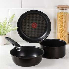 Набор посуды Ingenio Chef, 4 предмета: ковш d=18 см, сковорода d=22 см, d=26 см, съёмная ручка, цвет чёрный