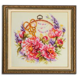 Набор для вышивания крестом «Пионы для умелицы» 25 × 25 см