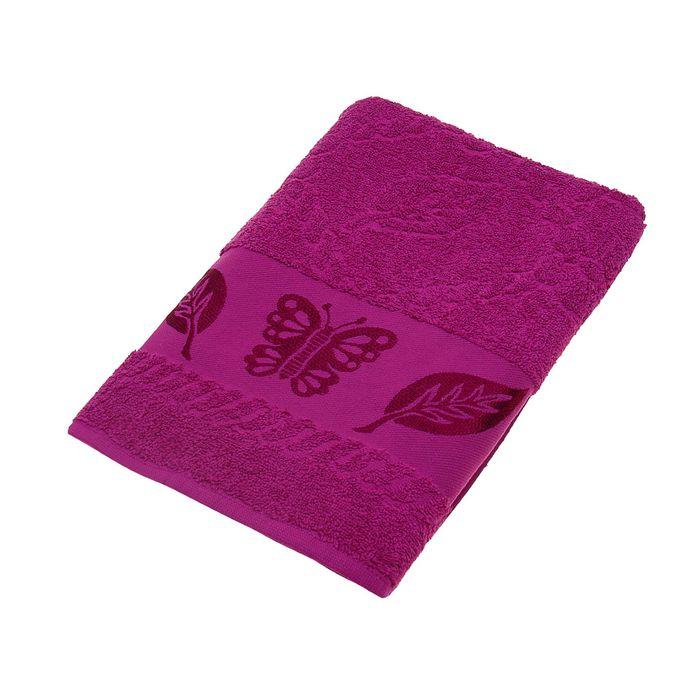 Полотенце махровое Fiesta Cotonn Butterfly 70х130 см, цвет малиновый, хлопок 500г/м2