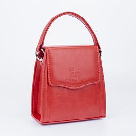 Сумка-мессенджер, отдел на клапане, наружный карман, длинный ремень, цвет красный