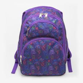 Рюкзак школьный, 2 отдела на молниях, 2 наружных кармана, 2 боковых кармана, цвет фиолетовый
