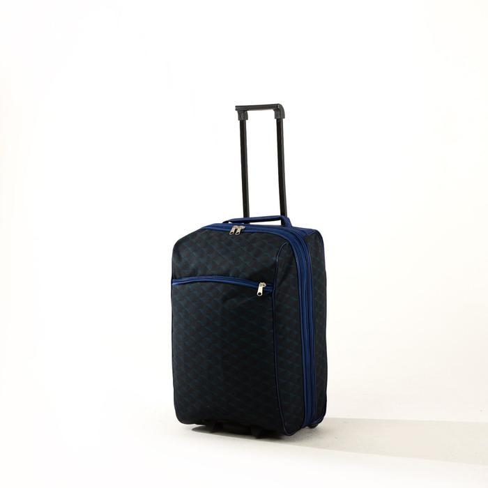 """Чемодан малый 20"""", отдел на молнии, наружный карман, с расширением, цвет синий/чёрный - фото 843678"""