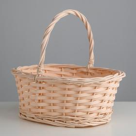 Корзина плетеная, ива, 30х21х12х25 см, светло-персиковый