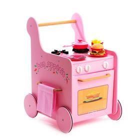 Детская игровая тележка-каталка кухня с посудой «Гриль Мастер для девочек» розовая