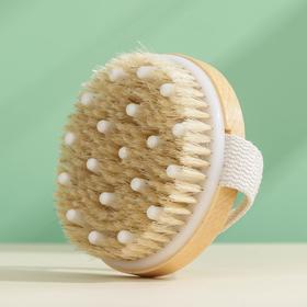 Щётка для тела массажная с ремешком Доляна, 10×10×3,4 см, натуральная щетина