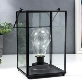 """Ночник """"Лампа лофт"""" LED от батареек 3хААА черный 15,5х15,5х24 см"""