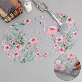 Коврик для ванны Доляна «Фламинго», 36×67 см