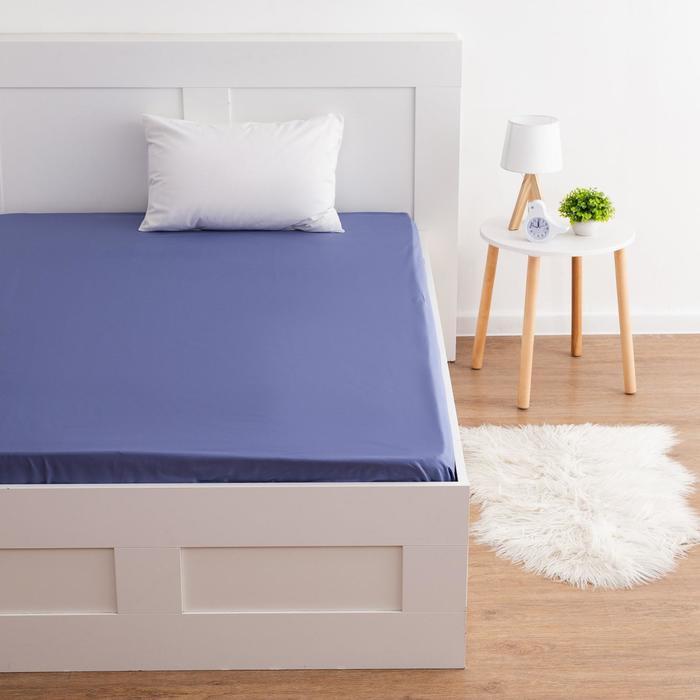 Простыня на резинке Этель 160*200*25 см, цв. фиолетовый, 100% хлопок, мако-сатин, 128 г/м² - фото 844458