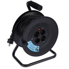 Удлинитель на катушке Luazon Lighting, 4 розетки, 40 м, 16 А, ПВС 3х2.5 мм2, с з/к,IP44,ГОСТ