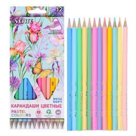12 colors pencils, Devente Trio Mega Soft Pastel, triangular housing, super soft, 4m, chiffel D-3mm, pastel colors