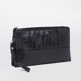 Клатч, 2 отдела на молнии, наружный карман, длинный ремень, цвет чёрный