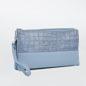 Клатч, 2 отдела на молнии, наружный карман, длинный ремень, цвет голубой