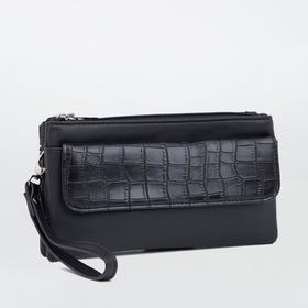 Клатч, 2 отдела на молнии, 2 наружных кармана, длинный ремень, цвет чёрный
