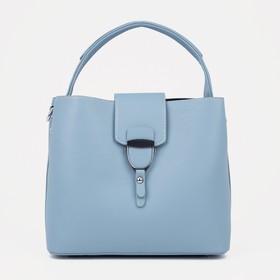 Тоут, отдел на молнии, наружный карман, регулируемый ремень, цвет голубой