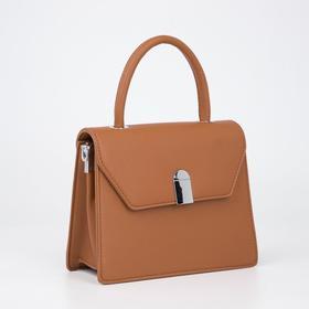 Сумка-мессенджер, отдел на клапане, наружный карман, регулируемый ремень, цвет коричневый