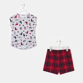 Пижама для девочки, цвет серый/клетка, рост 104 см