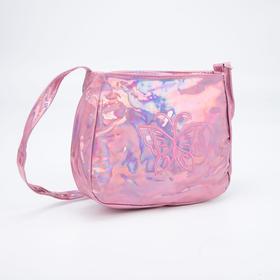 Сумка детская, отдел на молнии, регулируемый ремень, цвет розовый, «Бабочка»