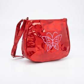 Сумка детская, отдел на молнии, регулируемый ремень, цвет красный, «Бабочка»