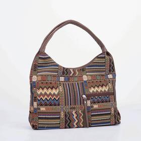 Сумка-хобо, отдел на молнии, наружный карман, цвет коричневый