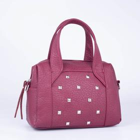 Саквояж, отдел на молнии, наружный карман, длинный ремень, цвет бордовый