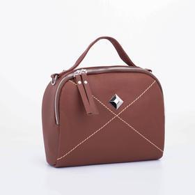 Саквояж, отдел на молнии, наружный карман, длинный ремень, цвет коричневый