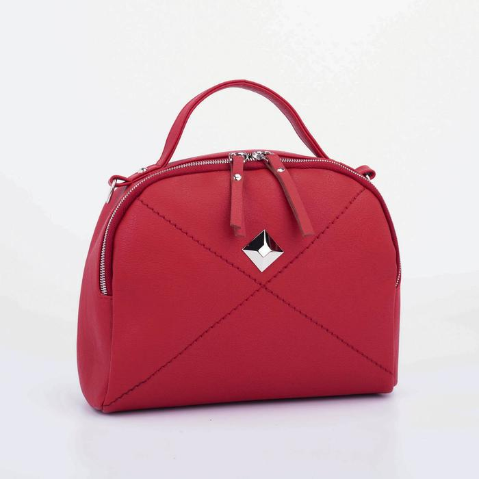 Саквояж, отдел на молнии, длинный ремень, наружный карман, цвет красный - фото 845167