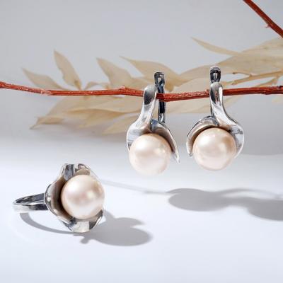 """Гарнитур посеребрение 2 предмета: серьги, кольцо, кувшинка """"Майорка"""", 17,5 размер"""