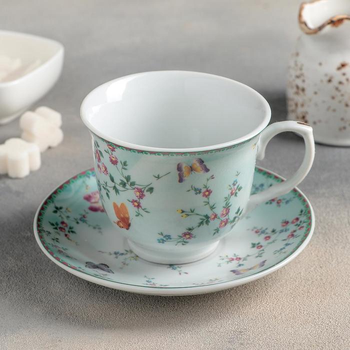 УЦЕНКА Чайная пара Доляна «Пелагея», чашка 220 мл, блюдце 14 см