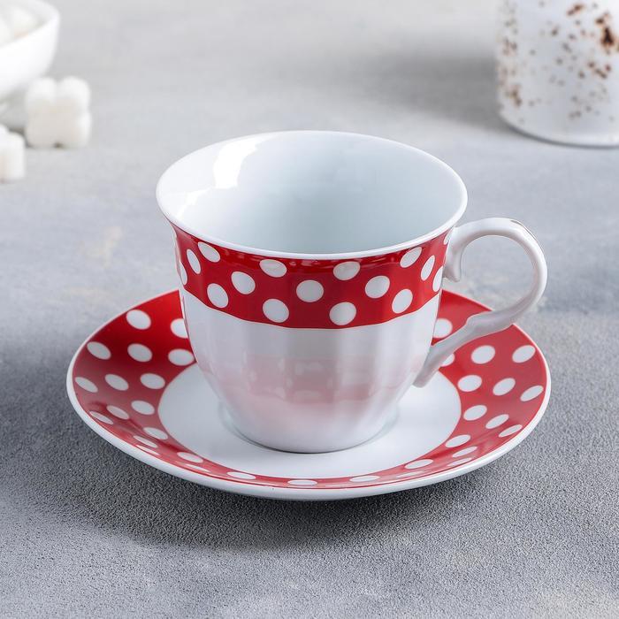 УЦЕНКА Чайная пара Доляна «Горох», чашка 210 мл, блюдце, цвет красный