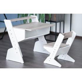 Детская растущая парта и стул Так Так 730x700x790 Дуб Серый/Белый