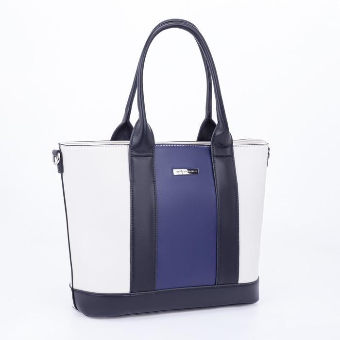 Тоут, отдел на молнии, наружный карман, длинный ремень, цвет белый/синий - фото 845315