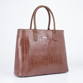 Тоут, отдел на молнии, наружный карман, длинный ремень, цвет коричневый