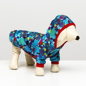 """Куртка плащевая """"Весна""""  для собак L (ДС 28-30, ОШ 32, ОГ 40-44 см), цветочек"""