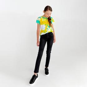 Брюки для девочки, цвет чёрный, рост 122 см