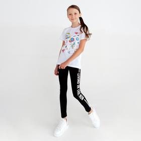 Леггинсы для девочки, цвет чёрный, рост 134 см