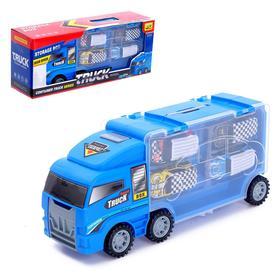 Гараж детский «Грузовик. Автовоз», 4 машинки в комплекте, МИКС
